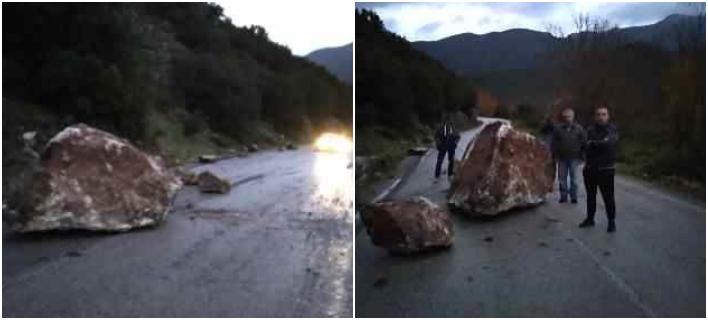 Πτώση βράχων στο οδικό δίκτυο Κλειτορίας-Τρίπολης λόγω βροχόπτωσης -Φωτογραφίες: kalavrytapress.gr