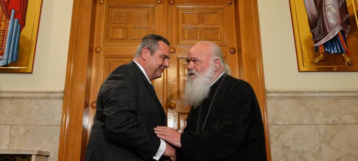 Ο πρόεδρος των ΑΝΕΛ με τον Αρχιεπίσκοπο Αθηνών και πάσης Ελλάδος -Φωτογραφία αρχείου: Intimenews/ΚΩΤΣΙΑΡΗΣ ΓΙΑΝΝΗΣ