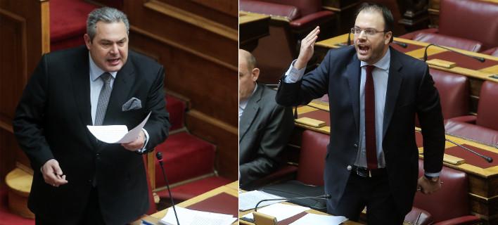 Αγρια κόντρα στη Βουλή -Καμμένος: «Κάτσε κάτω ρε, κάτσε κάτω» -Θεοχαρόπουλος: «Οχι σε μένα αυτά»