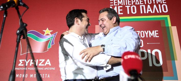 Αλέξης Τσίπρας και Πάνος Καμμένος περιχαρείς για την νίκη τον Σεπτέμβριο του 2015 -Φωτογραφία: Nick Paleologos / SOOC