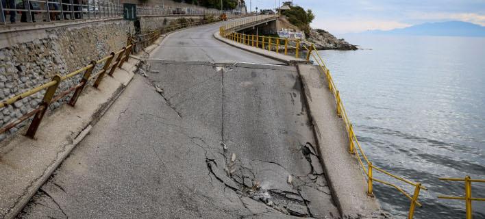 Η γέφυρα που κατάρρευσε στην Καβάλα/Φωτογραφία: Eurokinissi