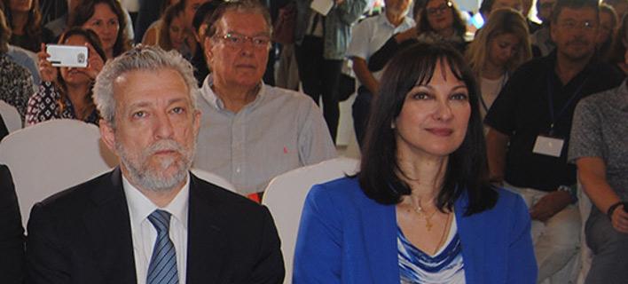 Ο βουλευτής Ζακύνθου του ΣΥΡΙΖΑ Στ. Κοντονής (αριστερά) και η υπουργός Τουρισμού Ελενα Κουντουροά -Φωτογραφία: imerazante