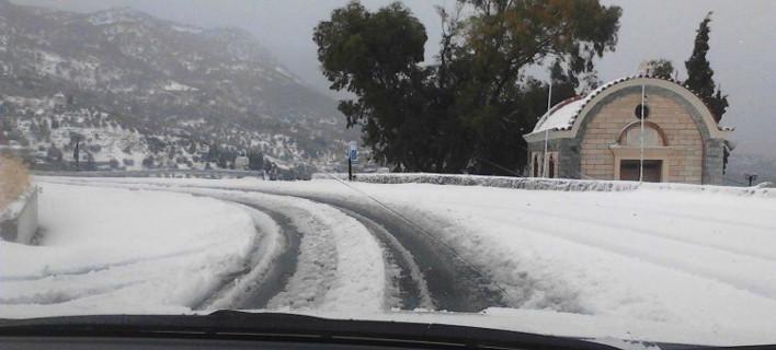 Από τη χιονισμένη Βιάννο. Φωτογραφία: cretalive.gr