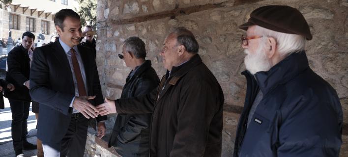 Ο Κυριάκος Μητσοτάκης στα Σιάτιστα Κοζάνης /Φωτογραφία: Εurokinissi