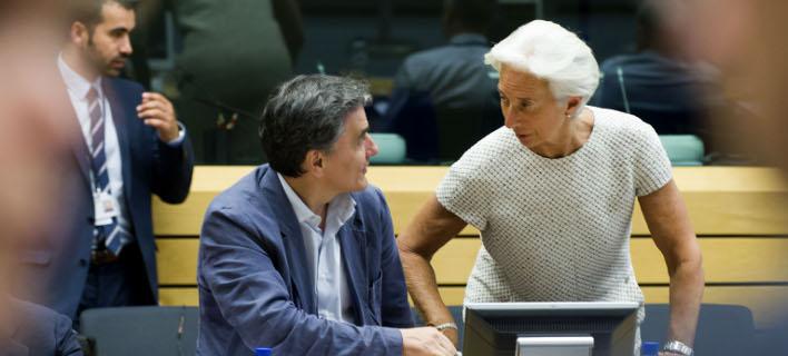 Ο Ευκλείδης Τσακαλώτος με την Κριστίν Λαγκάρντ / Φωτογραφία: Eurokinissi