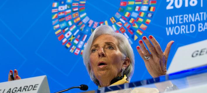 Η Κριστίν Λαγκάρντ στη συνέντευξη Τύπου -Φωτογραφία: AP Photo/Jose Luis Magana