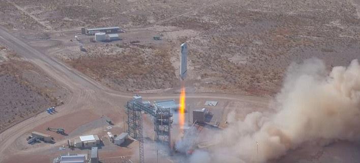 O πύραυλος New Shepard εκτοξεύθηκε χθες από το δυτικό Τέξας (Φωτογραφία: Blue Origin)
