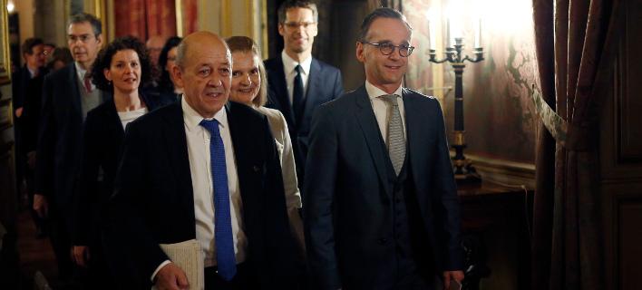 Οι υπουργοί Εξωτερικών Γαλλίας και Γερμανίας, Ζαν Υβ Λε Ντριάν και Χάικο Μάας (Φωτογραφία: ΑΡ)