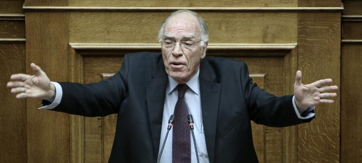 Ο Βασίλης Λεβέντης στο βήμα της Βουλής -Φωτογραφία: George Vitsaras / SOOC