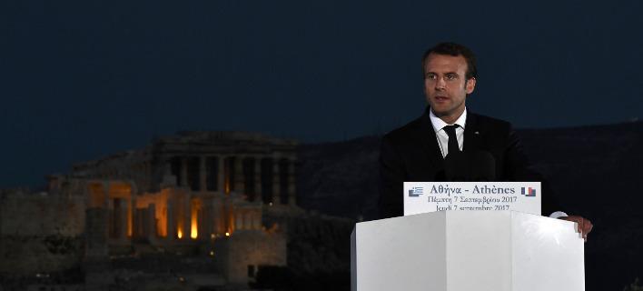 Εκτεταμένες αναφορές για την επίσκεψη Μακρόν στην Αθήνα και στον ιταλικό Τύπο / Φωτογραφία: (Aris Messinis/Pool via AP)