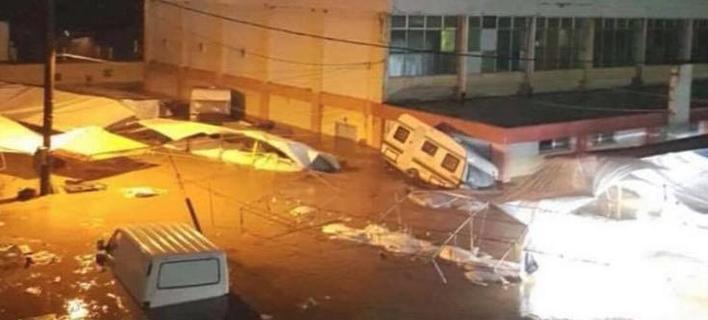 Μεγάλες καταστροφές στο Μαντούδι/ Φωτογραφία: Twitter