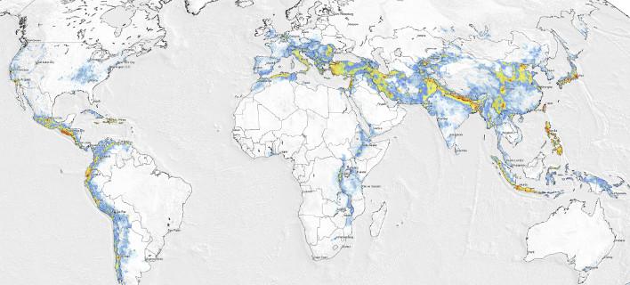 Χάρτης σεισμικού κινδύνου, φωτογραφία: globalquakemodel.org