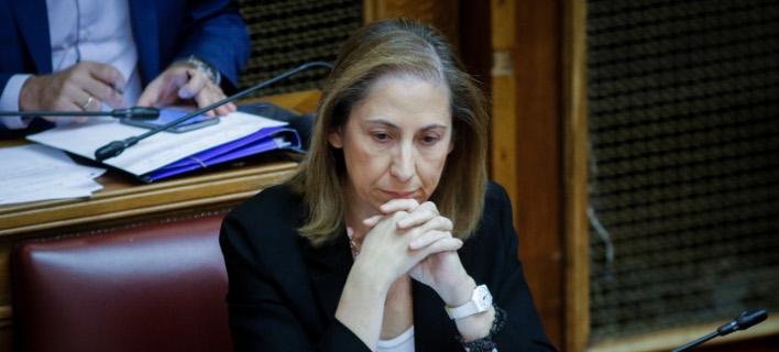Η Μαριλίζα Ξενογιαννακοπούλου στα υπουργικά έδρανα της Βουλής/Φωτογραφία: Eurokinissi