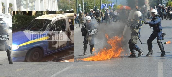 Μολότοφ και πετροπόλεμος στο Σύνταγμα -Επεισόδια στη διαδήλωση