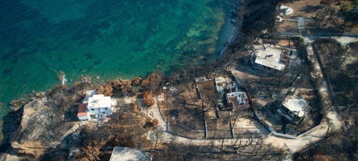 Αεροφωτογραφία από το καμένο Μάτι/ Φωτογραφία: Eurokinissi