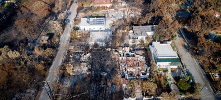 Εικόνα από drone δείχνει την καταστροφή στο Μάτι / Φωτογραφία: EUROKINISSI