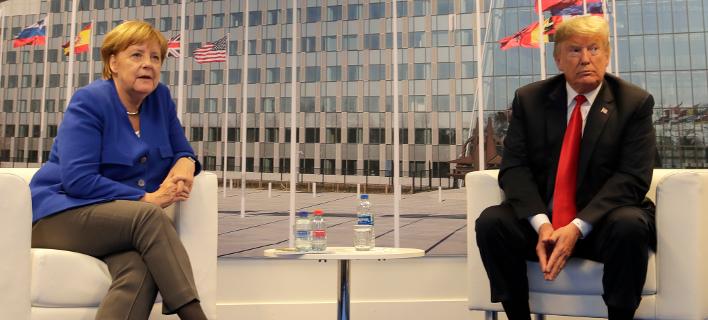 Η Γερμανίδα καγκελάριος Άνγκελα Μέρκελ και ο πρόεδρος των ΗΠΑ, Ντόναλντ Τραμπ (Φωτογραφία: ΑΡ)