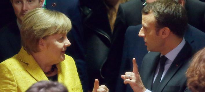 Η Γερμανίδα καγκελάριος Άνγκελα Μέρκελ και ο Πρόεδρος της Γαλλίας, Εμανουέλ Μακρόν (Φωτογραφία: ΑΡ)