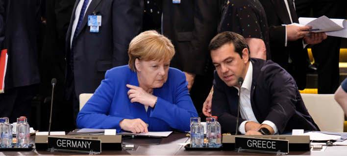 H Ανγκελα Μέρκελ με τον Αλέξη Τσίπρα/Φωτογραφία: Eurokinissi