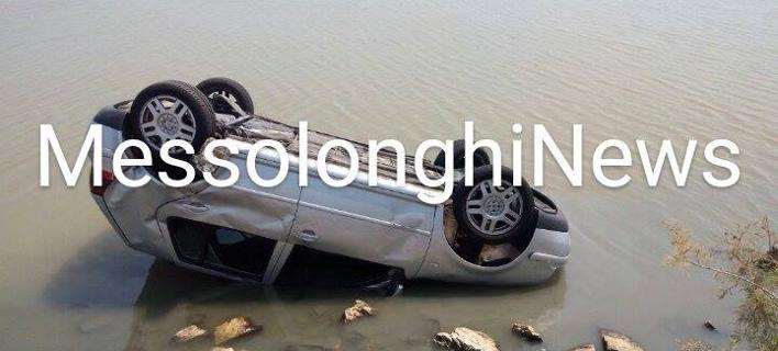 ΙΧ ανατράπηκε στη λιμνοθάλασσα Μεσολογγίου (Φωτογραφία: messolonghinews)