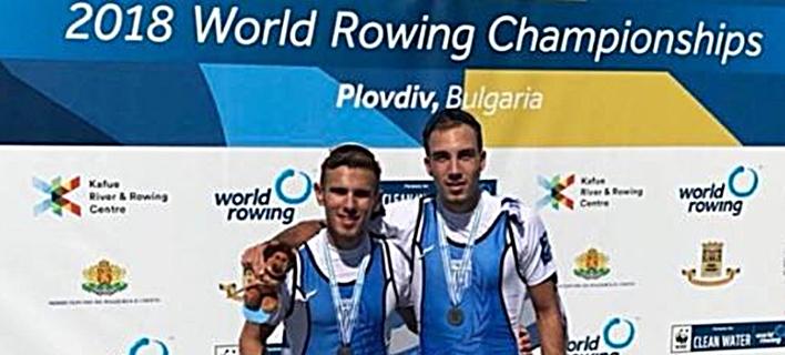 Παγκόσμιο Πρωτάθλημα Κωπηλασίας: Ασημένιο μετάλλιο Παπακωνσταντίνου-Μαρόκος