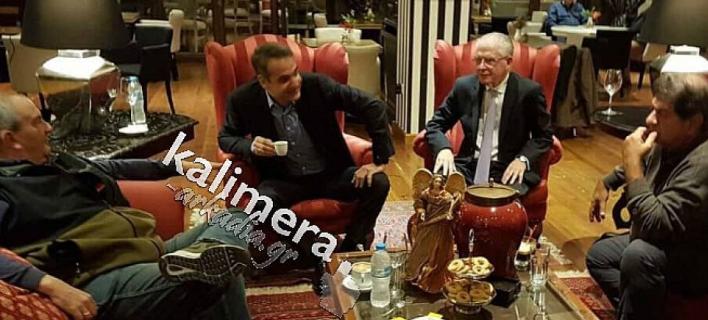 Ο Κ. Καραμανλής, ο Κυριάκος Μητσοτάκης και οι πρώην Γραμματείς της ΝΔ, Ανδρέας Λυκουρέντζος και Λευτέρης Ζαγορίτης -Φωτογραφία: kalimera-arkadia