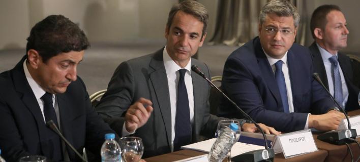 Ο κ. Μητσοτάκης στη συνάντηση με παραγωγικούς φορείς της Θεσσαλονίκης (Φωτογραφία: EUROKINISSI)
