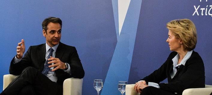 Ο πρόεδρος της ΝΔ με τη Γερμανίδα υπ. Αμυνας/ Φωτογραφία: EUROKINISSI- ΤΑΤΙΑΝΑ ΜΠΟΛΑΡΗ