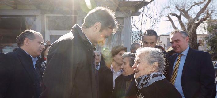 Ο Κυριάκος Μητσοτάκης με τη Μαρίτσα Μαυροπίδου (Φωτογραφία: Kyriakos Mitsotakis/Twitter)