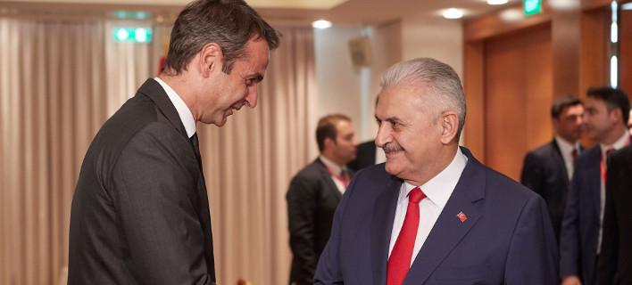 Με τον Τούρκο πρωθυπουργό συναντήθηκε ο Κυριάκος Μητσοτάκης [εικόνες]