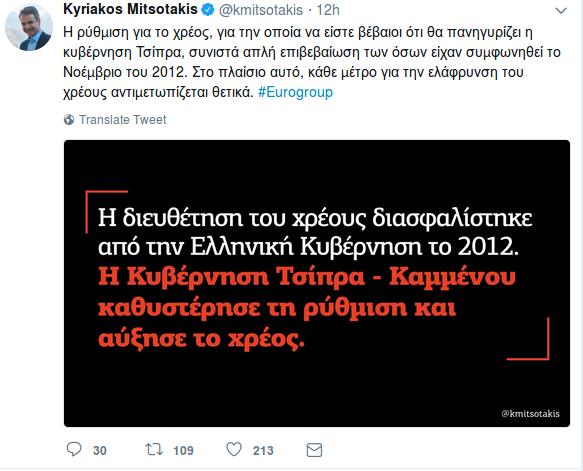 Μητσοτάκης: Η χθεσινή συμφωνία του Eurogroup ήταν επικύρωση τις συμφωνίας του 2012