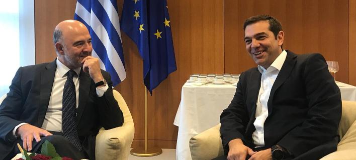 Πιέρ Μοσκοβισί & Αλέξης Τσίπρας (Φωτογραφία: Twitter)