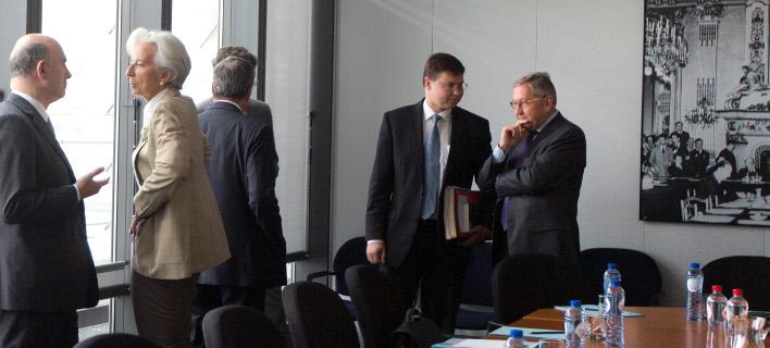 Πιερ Μοσκοβισί, Κριστίν Λαγκάρντ και άλλοι αξιωματούχοι της ΕΕ /Φωτογραφία: ΑΡ