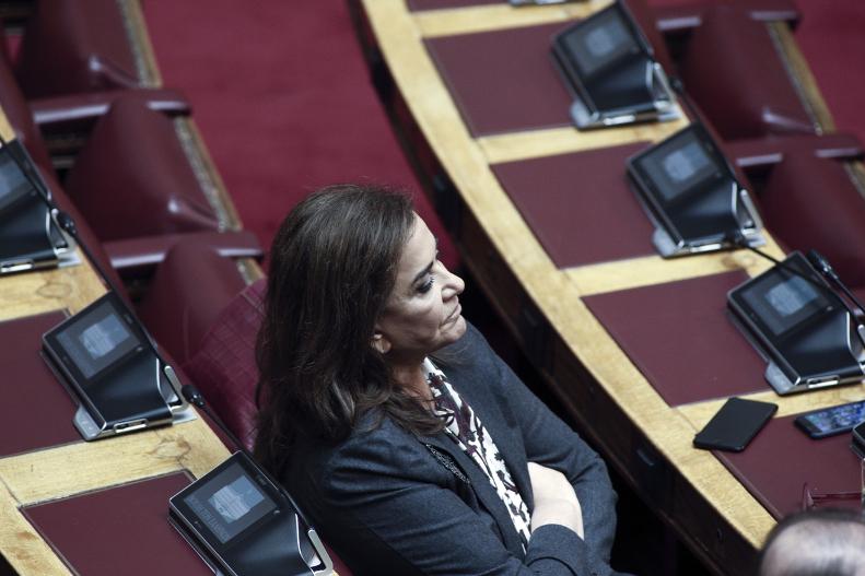 Η Ντόρα Μπακογιάννη στη Βουλή/Φωτογραφία: Sooc