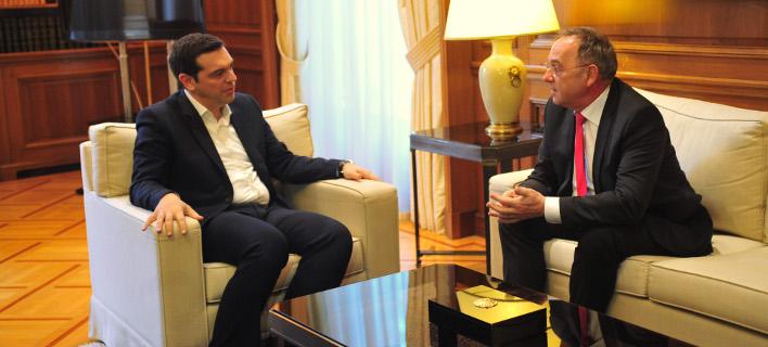 Από τη συνάντηση του Νόρμπερτ-Βάλτερ με τον Ελληνα πρωθυπουργό τον Ιανουάριο του 2016/ Φωτογραφία: Eurokinissi