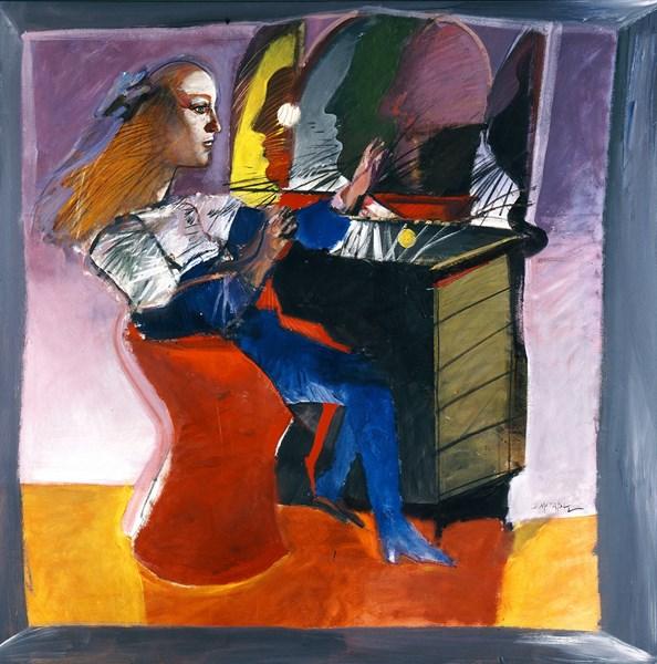Ο καθρέφτης, 1990, Ακρυλικό σε καμβά, 183 x 183 εκ. Συλλογή Ιδρύματος Βασίλη και Ελίζας Γουλανδρή