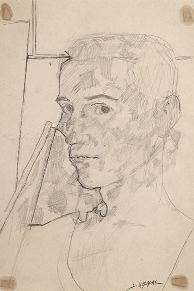 Αυτοπροσωπογραφία, μολύβι σε χαρτί