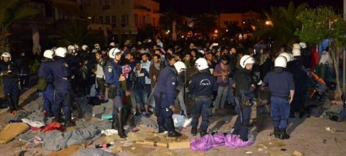 επεισόδια στη Μυτιλήνη/Φωτογραφία: lesvosnews.net