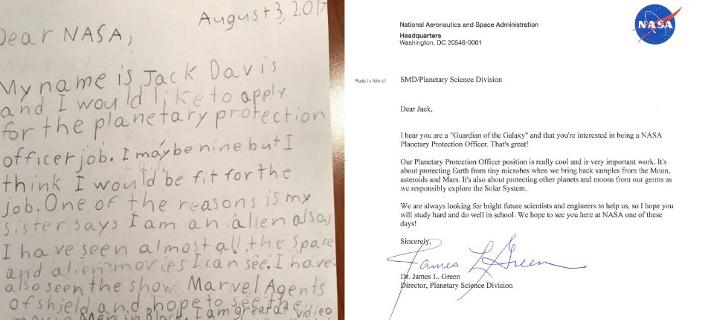 Ο 9χρονος Τζακ δηλώνει «φρουρός» του γαλαξία και θέλει να δουλέψει στη NASA (Φωτογραφία: Twitter)
