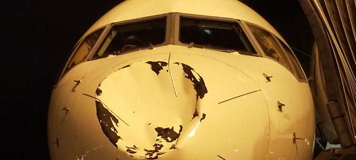 Η ζημιά που προκλήθηκε στο αεροσκάφος (Φωτογραφία: Twitter)