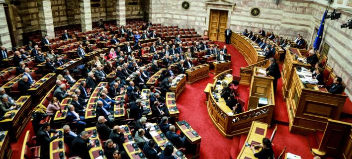 Στην Βουλή η Συμφωνία των Πρεσπών. Φωτογραφία: Eurokinissi