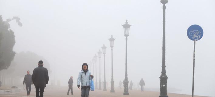 ομίχλη στη Θεσσαλονίκη/Φωτογραφία: Eurokinissi