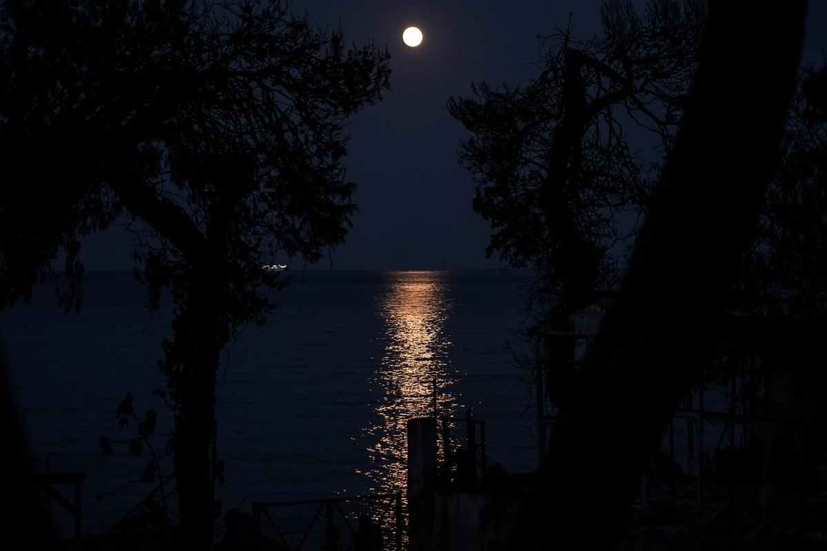Η ολική έκλειψη της Σελήνης, φωτίζει το μαρτυρικό Μάτι -Φωτογραφίες: Menelaos Myrillas / SOOC