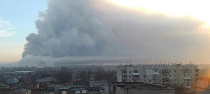 οι καπνοί έχουν σκεπάσει την περιοχή/Φωτογραφία: Twitter