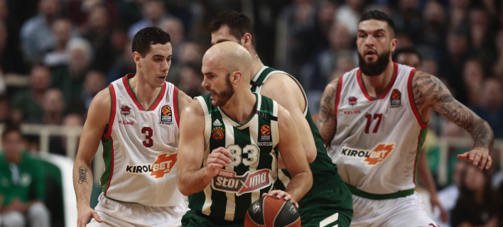 Ο Νικ Καλάθης στο ματς με την Μπασκόνια /Φωτογραφία: EUROKINISSI
