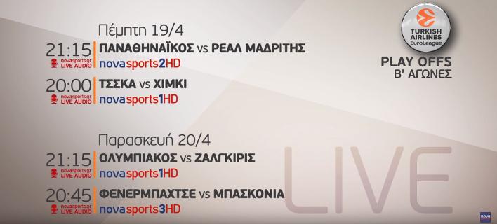 H πρόκριση στο F4 της EuroLeague για Ολυμπιακό και Παναθηναϊκό κρίνεται στη Nova [βίντεο]