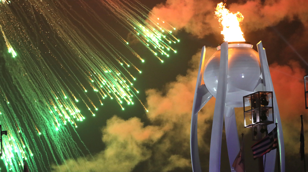 Η εντυπωσιακή έναρξη των χειμερινών Παραολυμπιακών Αγώνων στην Πιονγκγιάνγκ -Φωτογραφία: AP Photo/Ng Han Guan