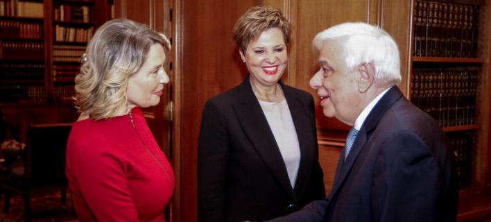 Με τη Γεροβασίλη και την Παπακώστα συναντήθηκε ο Προκόπης Παυλόπουλος/Φωτογραφία: Eurokinissi