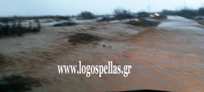 Φωτογραφία από τον δρόμο Πέλλας-Χαλκηδόνας που έκλεισε χθες. Πηγή: logospellas.gr