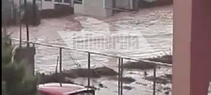 Απόλυτη καταστροφή -Ποτάμια λάσπης πλημμύρισαν δρόμους και σπίτια στη Νέα Πέραμο [βίντεο]